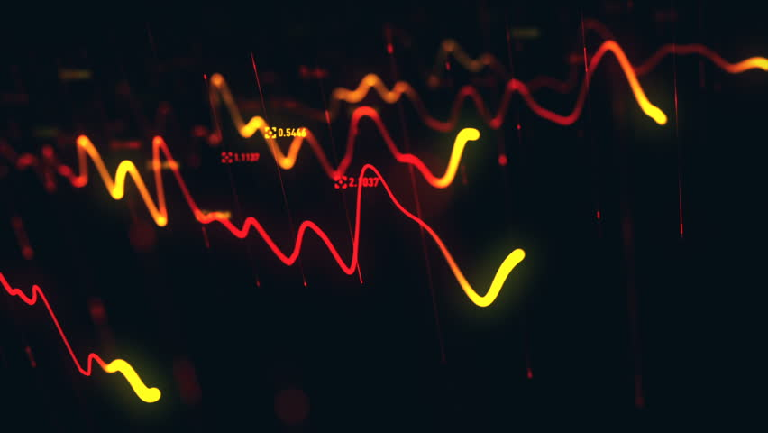 Animation growth of abstract charts with changing values of check points on dark background. Animation of seamless loop.   Shutterstock HD Video #1022110573