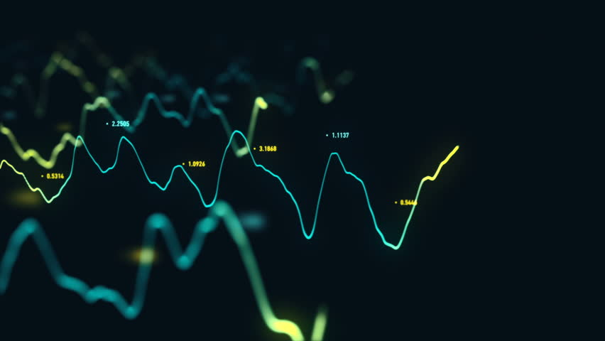 Animation growth of abstract charts with changing values of check points on dark background. Animation of seamless loop.   Shutterstock HD Video #1022110597