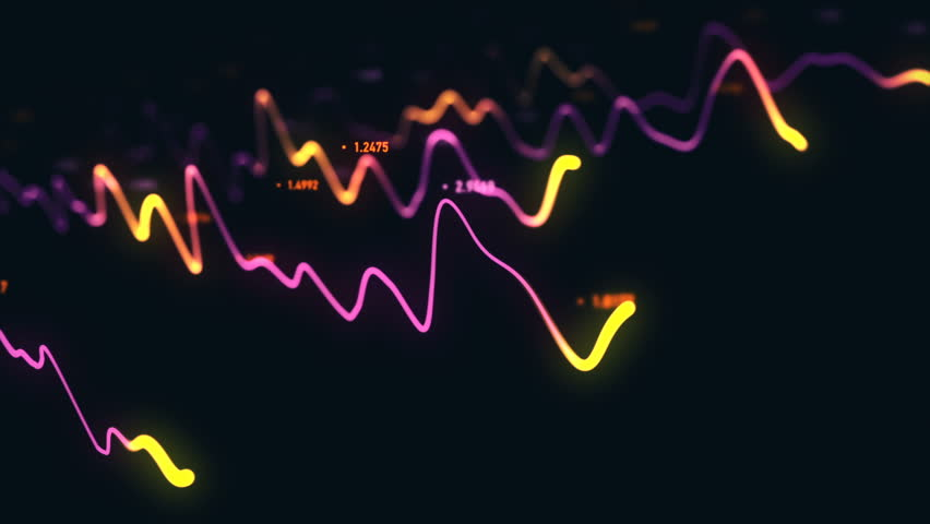 Animation growth of abstract charts with changing values of check points on dark background. Animation of seamless loop.   Shutterstock HD Video #1022110663