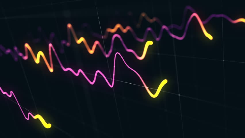 Animation growth of abstract charts with changing values of check points on dark background. Animation of seamless loop.   Shutterstock HD Video #1022110666