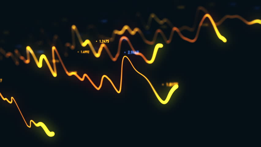 Animation growth of abstract charts with changing values of check points on dark background. Animation of seamless loop.   Shutterstock HD Video #1022110777