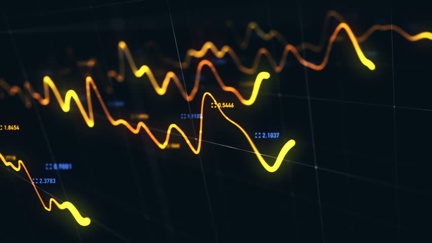 Animation growth of abstract charts with changing values of check points on dark background. Animation of seamless loop.   Shutterstock HD Video #1022110786