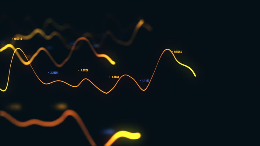 Animation growth of abstract charts with changing values of check points on dark background. Animation of seamless loop. | Shutterstock HD Video #1022110831