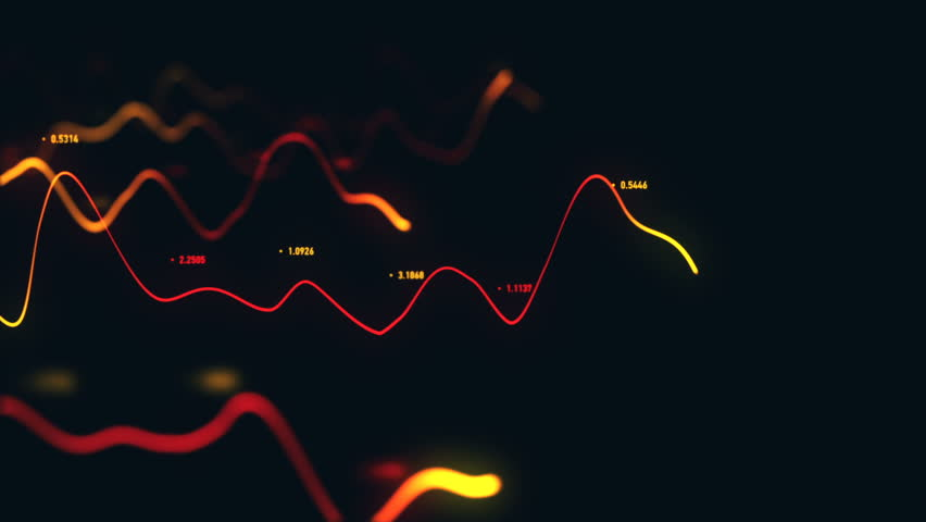 Animation growth of abstract charts with changing values of check points on dark background. Animation of seamless loop.   Shutterstock HD Video #1022110987