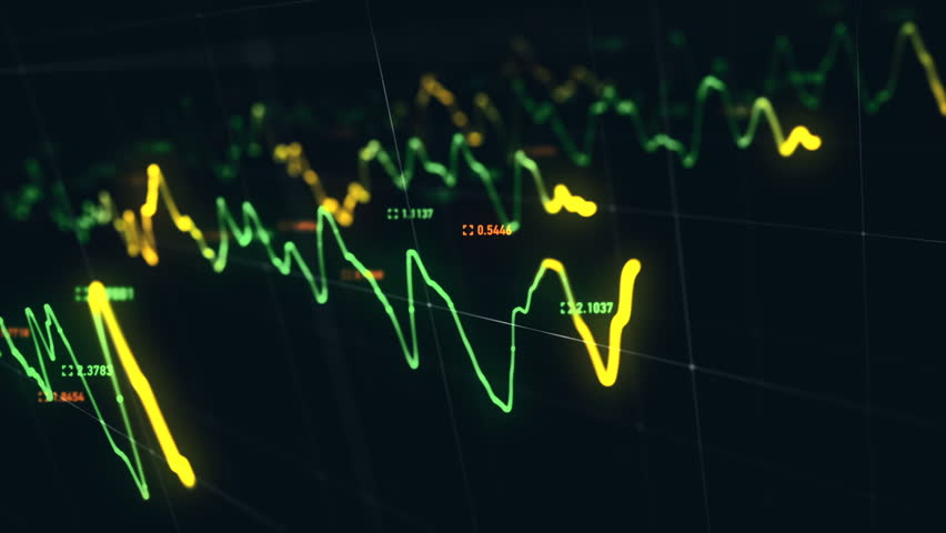 Animation growth of abstract charts with changing values of check points on dark background. Animation of seamless loop.   Shutterstock HD Video #1022111032