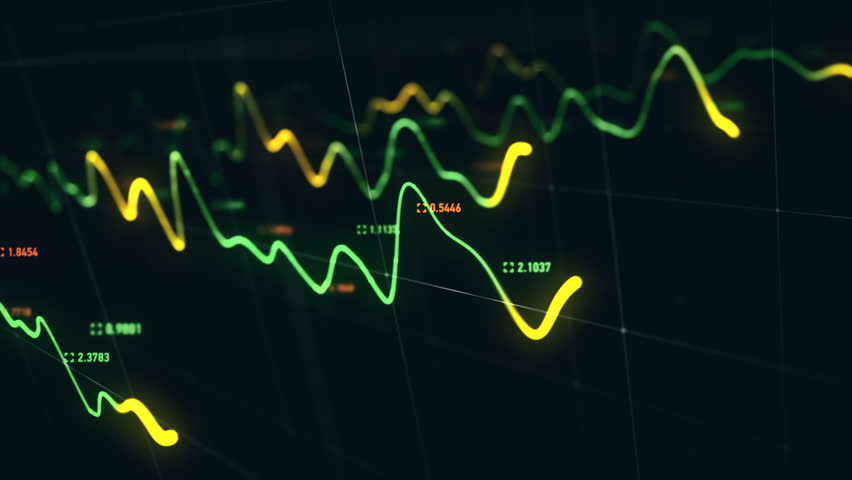 Animation growth of abstract charts with changing values of check points on dark background. Animation of seamless loop.   Shutterstock HD Video #1022111047