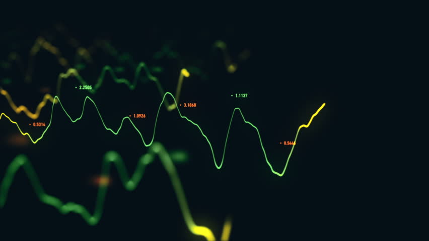 Animation growth of abstract charts with changing values of check points on dark background. Animation of seamless loop.   Shutterstock HD Video #1022111080