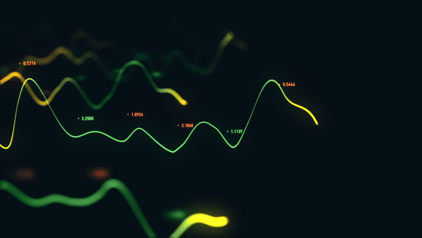 Animation growth of abstract charts with changing values of check points on dark background. Animation of seamless loop.   Shutterstock HD Video #1022111101