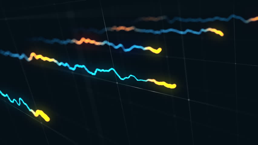 Animation growth of abstract charts with changing values of check points on dark background. Animation of seamless loop. | Shutterstock HD Video #1022111113