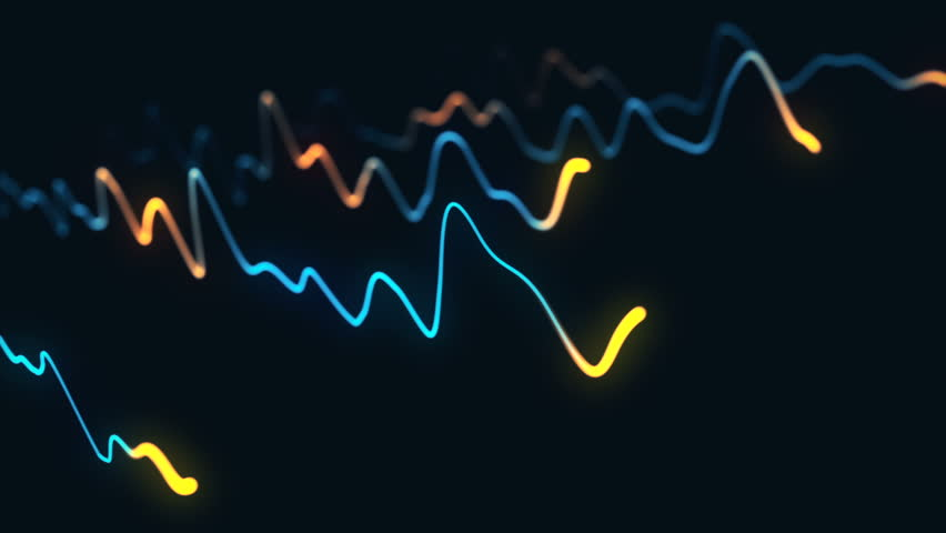 Animation growth of abstract charts with changing values of check points on dark background. Animation of seamless loop. | Shutterstock HD Video #1022111143