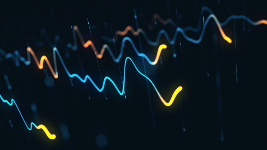 Animation growth of abstract charts with changing values of check points on dark background. Animation of seamless loop.   Shutterstock HD Video #1022111146