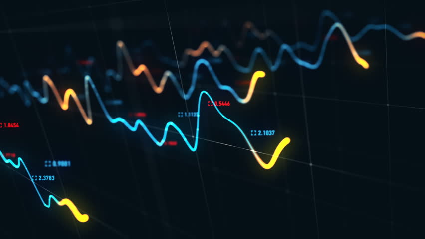 Animation growth of abstract charts with changing values of check points on dark background. Animation of seamless loop.   Shutterstock HD Video #1022111152