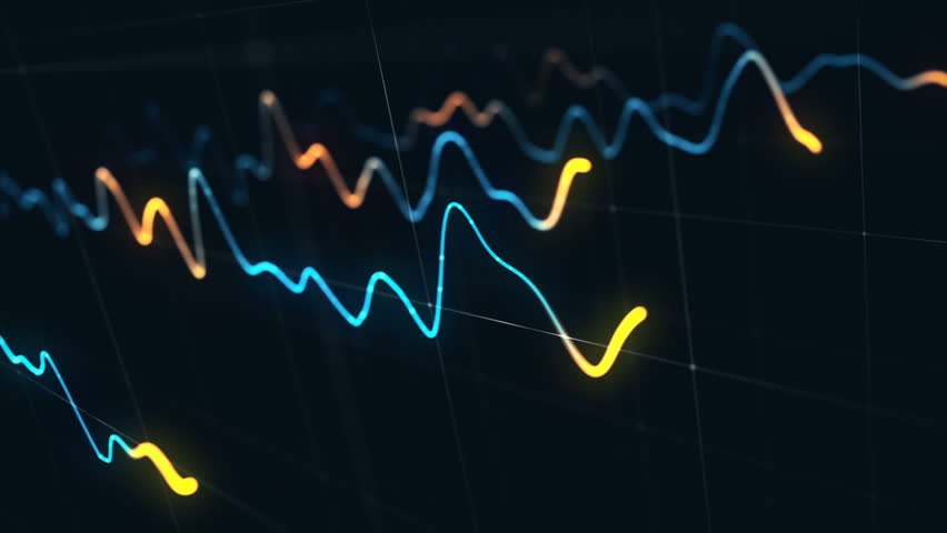 Animation growth of abstract charts with changing values of check points on dark background. Animation of seamless loop.   Shutterstock HD Video #1022111155
