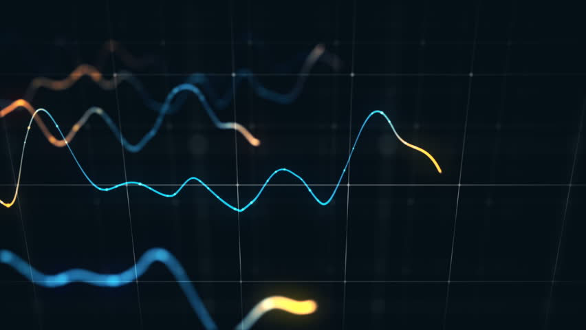 Animation growth of abstract charts with changing values of check points on dark background. Animation of seamless loop.   Shutterstock HD Video #1022111203