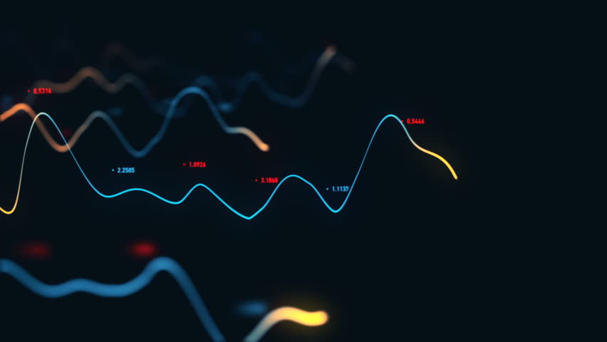 Animation growth of abstract charts with changing values of check points on dark background. Animation of seamless loop.   Shutterstock HD Video #1022111209