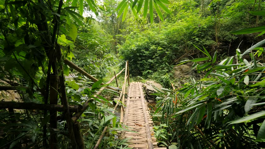 Crossing Bamboo Bridge over the River in Tropical Rainforest Jungle. 4K Slowmotion Wide Angle POV Natural Footage. Bali, Indonesia. Royalty-Free Stock Footage #1022113099