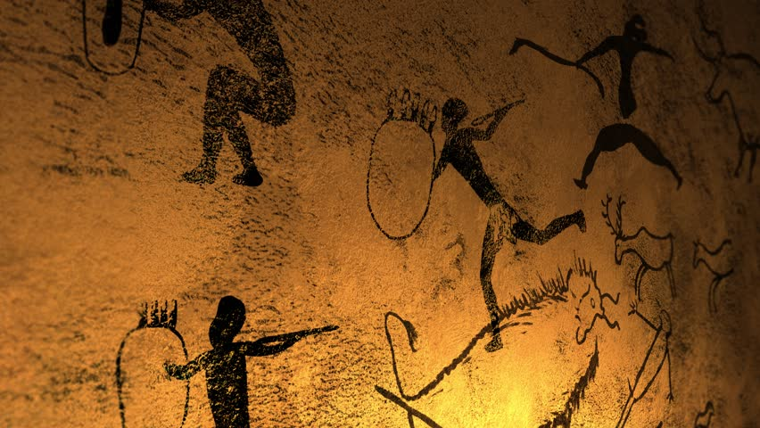 Candelight fire dances over cave paintings in prehistoric cavern  Royalty-Free Stock Footage #1022127886