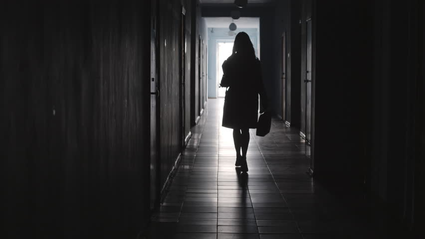 Rear view of silhouette of businesswoman wearing coat and high heels walking away from the camera along hallway in office center   Shutterstock HD Video #1022144620