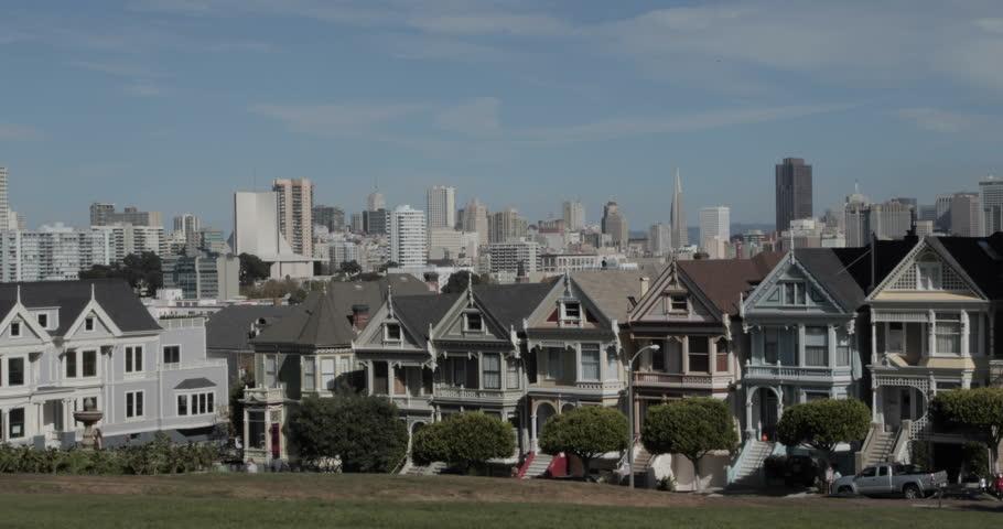 Painted Ladies and SF Skyline,  San Francisco California USA