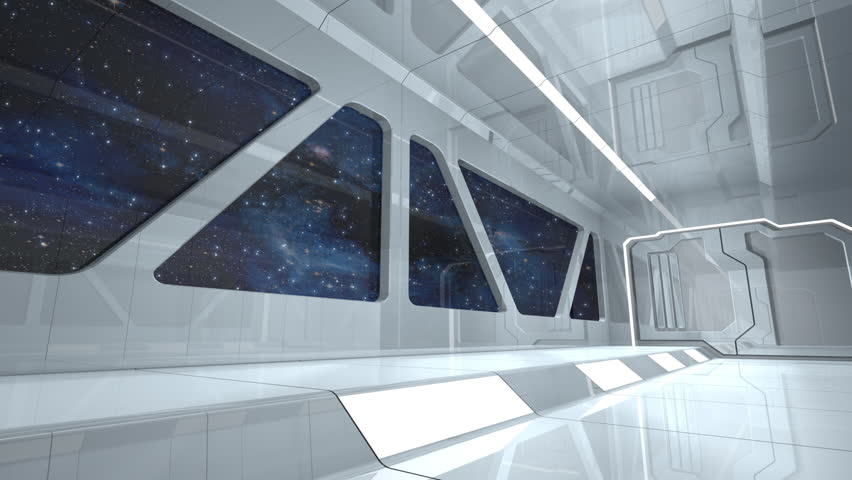 Observation Windows Inside Space Ship Traveling Through Space - 3D Animation.  Nebula Image Element Furnished by NASA.
