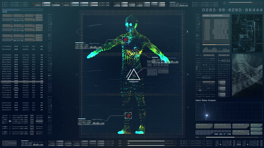 Futuristic motion element user interface information technology virtual biomedical holographic human body scan diagnostic with data and telemetry head up display for background computer desktop screen Royalty-Free Stock Footage #1022193019