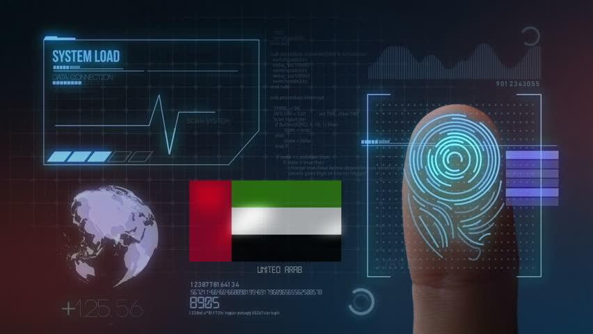 Finger Print Biometric Scanning Identification System. United Arab Emirates Nationality  | Shutterstock HD Video #1022193355