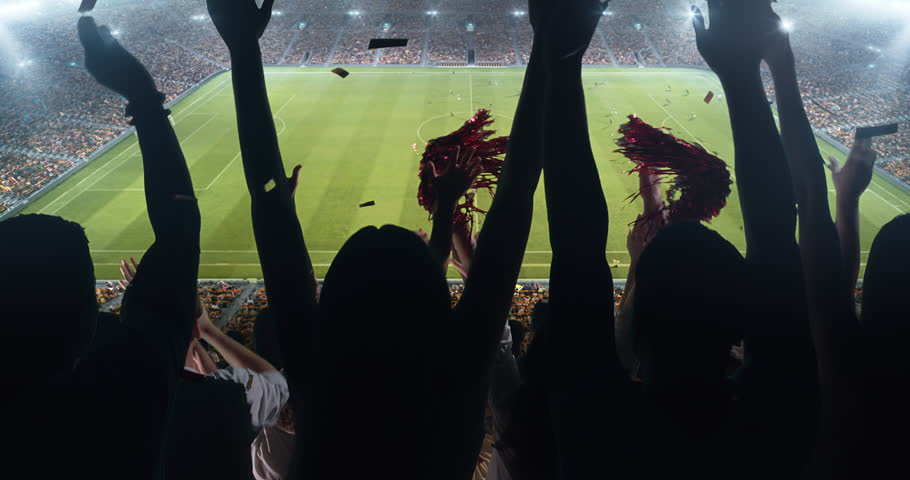 Fans clapping hands to cheer their favorite sports team on the stands of the professional stadium. Stadium is made in 3D and animated. Royalty-Free Stock Footage #1022278186
