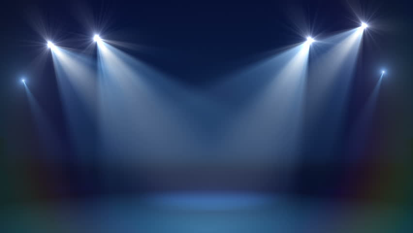 Stage with spot lighting, shining empty scene for holiday show, award Ceremony or advertising on the dark blue Background. Looped motion graphic. Royalty-Free Stock Footage #1022316091