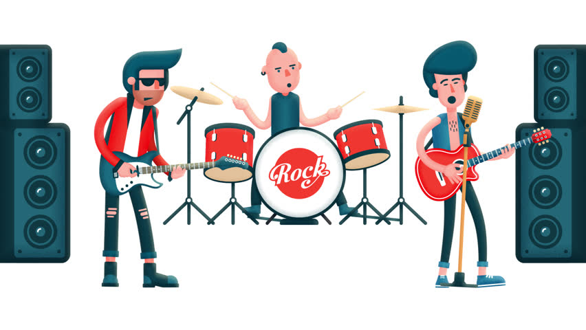 Pop group of musicians on stage. Guitarists and drummer. Flat characters. Looped animation with alpha channel.