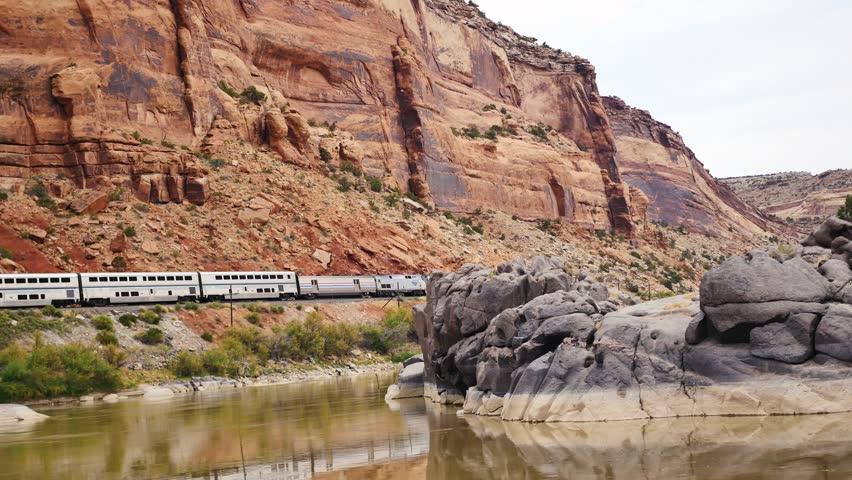 Train passes through Black Canyon in Colorado