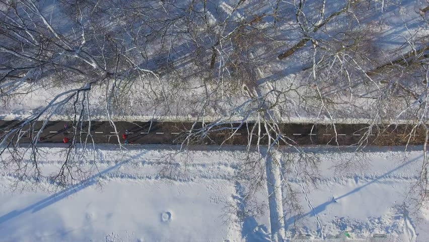 Aerial view of athletes running marathon in snowy park in winter   Shutterstock HD Video #1022338636