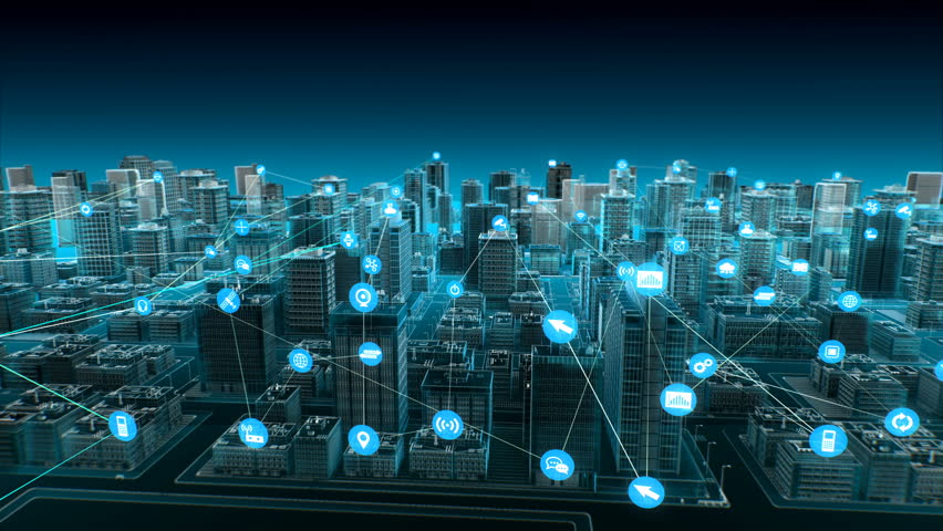 Various smart sensor icon on Smart city, connecting Internet of Things technology. blue x-ray aerial view. 4k animation. Royalty-Free Stock Footage #1022355934