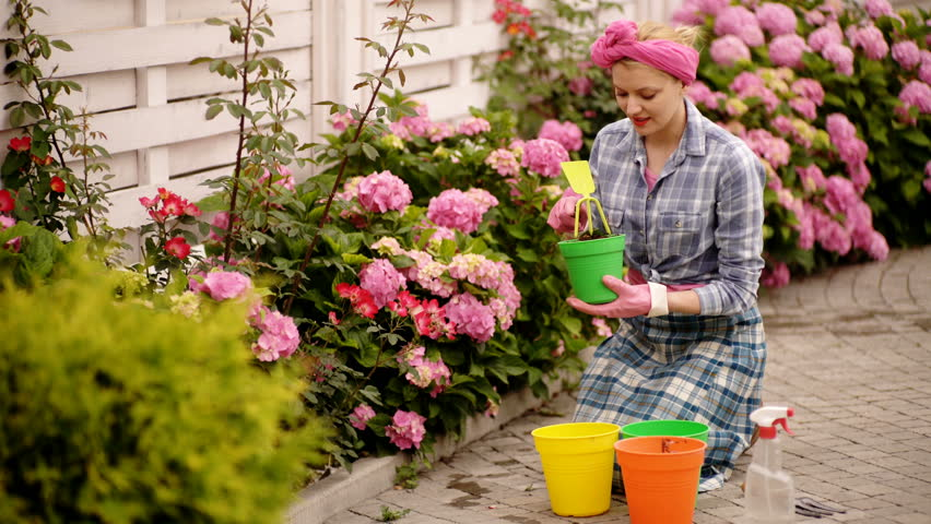 Gardening Girl Is Working In Stock Footage Video 100 Royalty