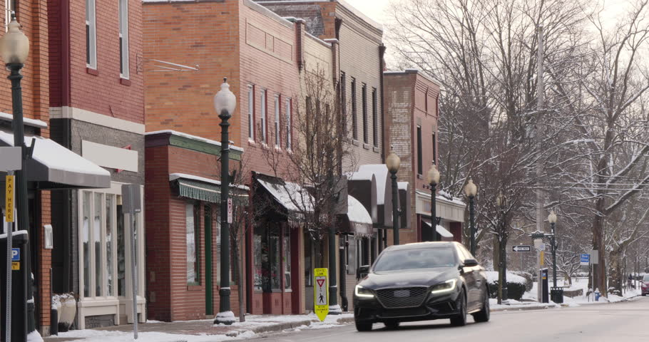 A long shot of a small American town's business district in the winter season. Pittsburgh suburbs. Non-snowing version. With audio.