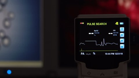 EKG monitor in hospital. Blood oxygen saturation, heart rate.