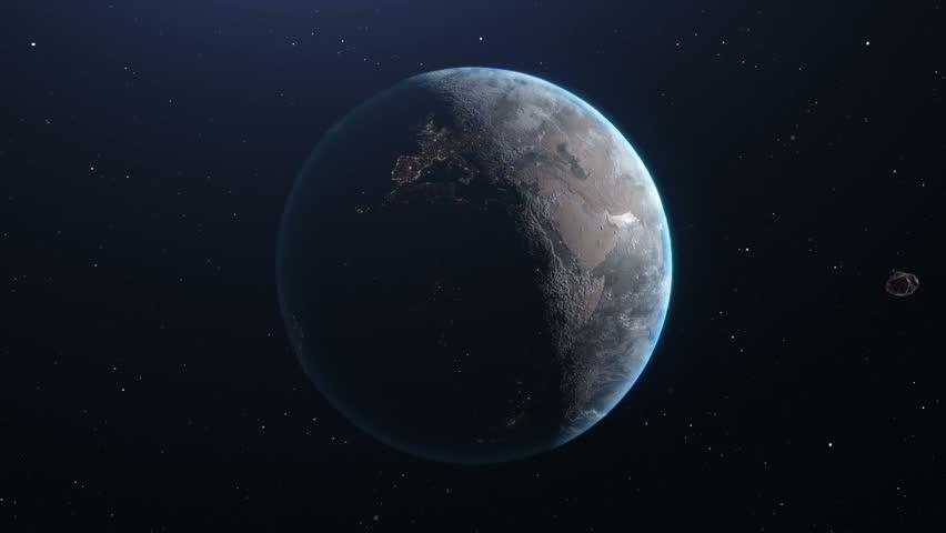 Meteor Flying Towards Planet Earth Long Shot  | Shutterstock HD Video #1022418688