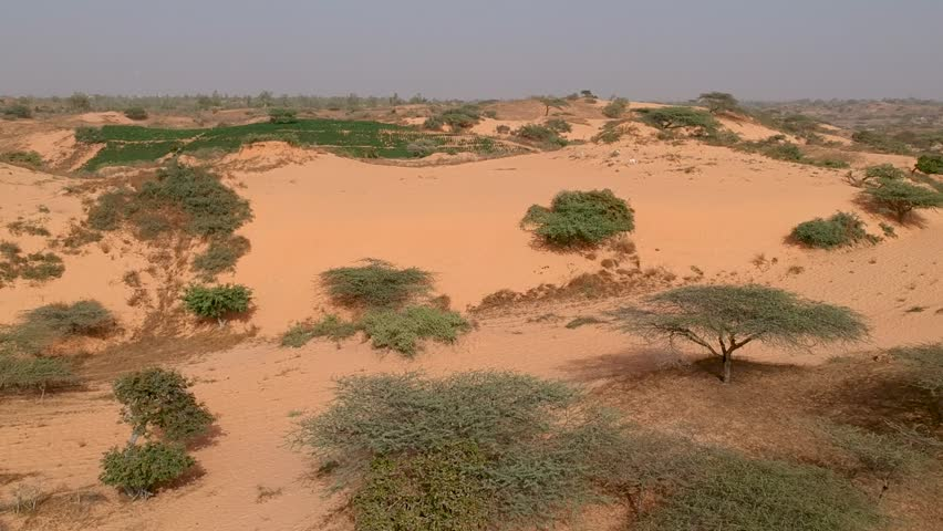 Drone shot of and dunes in Senegal with small oasos