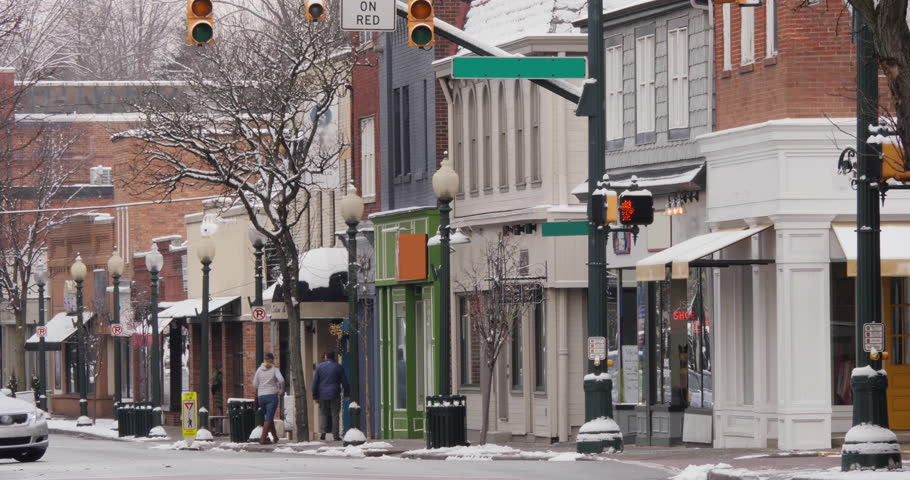 A long shot of a small American town's business district in the winter season. Pittsburgh suburbs. Non-snowing version.