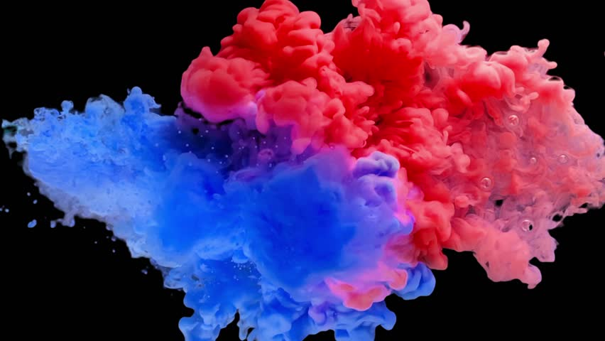 Colorful paint ink drops collision in the water in slow motion. Real shot of Blue and Red ink drops swirling and mixing underwater. Colorful Smoke Cloud Paint collision isolated on black with alpha.  | Shutterstock HD Video #1022434348