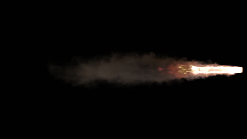 Animated stream of fire and smoke as if from jet engine or flying rocket burning solid fuel. Less dense smoke and fire. Isolated on black background, mask included. | Shutterstock HD Video #1022450608