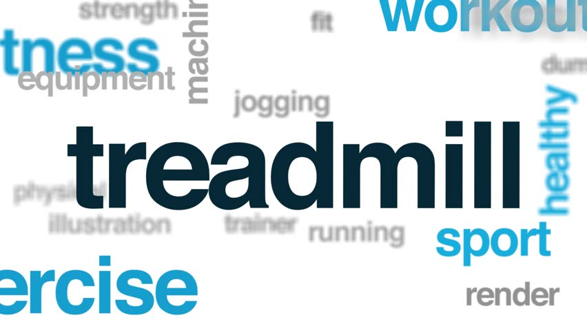 Treadmill animated word cloud. Kinetic typography.