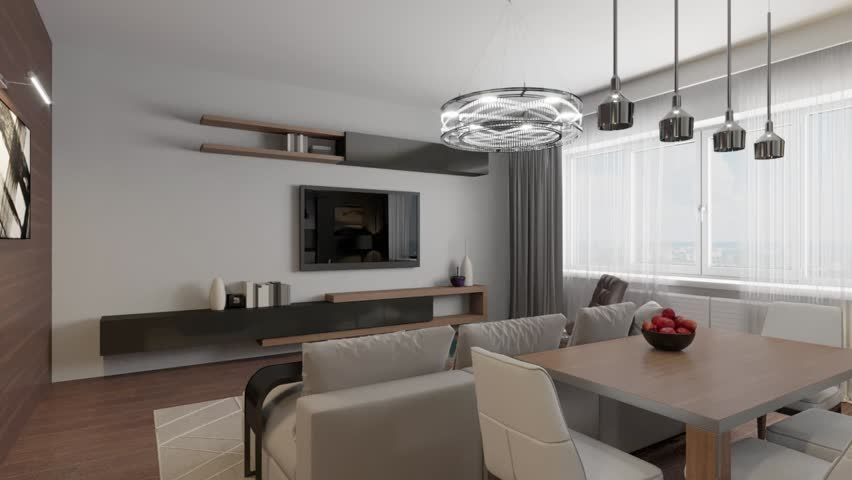 3D circled the interior of the living room in a modern style | Shutterstock HD Video #1022453854