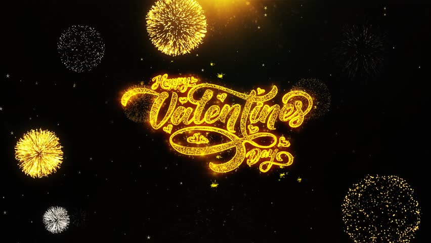 Romantic Happy Valentine's Day greeting text Animation with handwritten and Magic glitter sparkles flickering Particle background | Shutterstock HD Video #1022472241