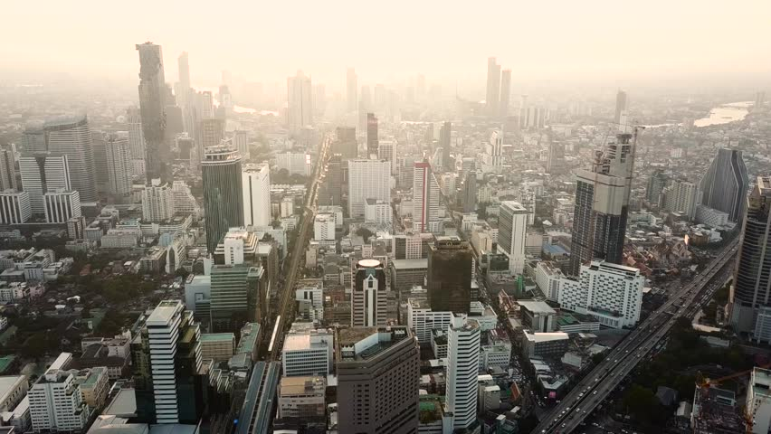 Bangkok, Thailand, March 27, 2018. 4K drone footage over downtown in Bangkok. | Shutterstock HD Video #1022478949