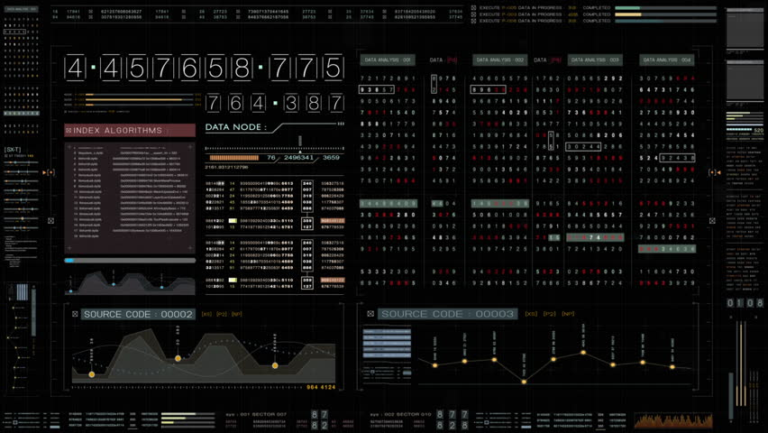 Futuristic source code digital data telemetry motion graphic display screen with user interface display for digital background computer desktop display screen with alpha channel Royalty-Free Stock Footage #1022531158
