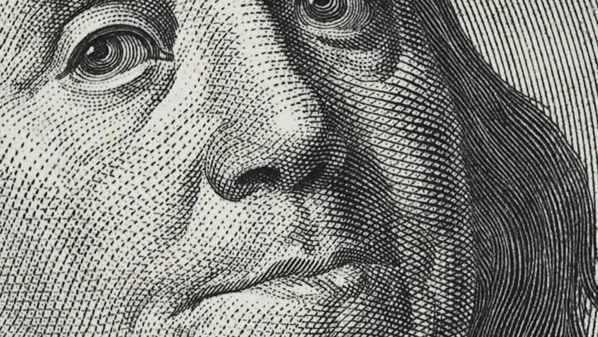 Benjamin Franklin on old US 100 dollar bill slow rotating.  | Shutterstock HD Video #1022571118