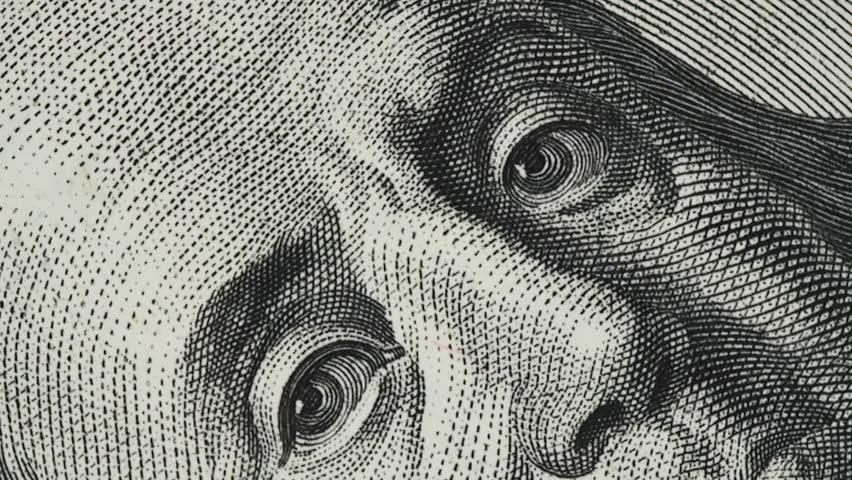 Benjamin Franklin on old US 100 dollar bill slow rotating | Shutterstock HD Video #1022571121