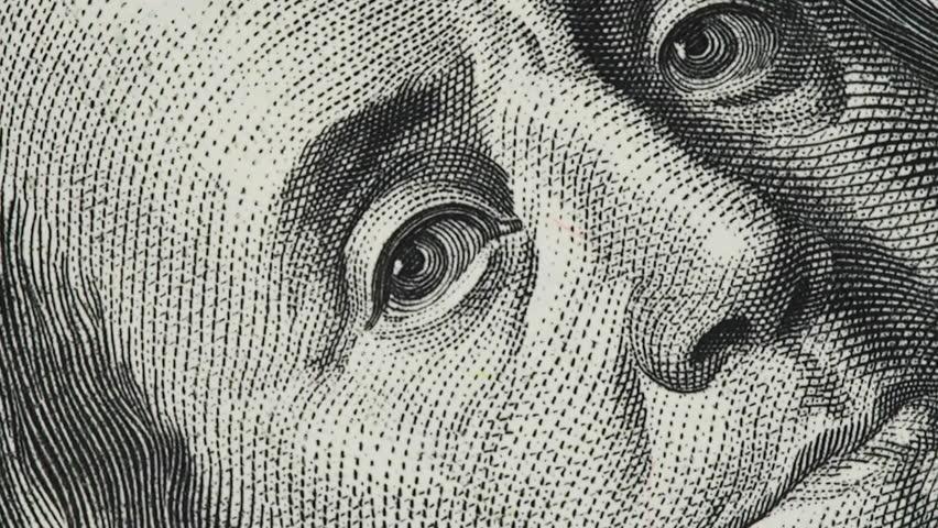 Benjamin Franklin on old US 100 dollar bill slow rotating.  | Shutterstock HD Video #1022571130