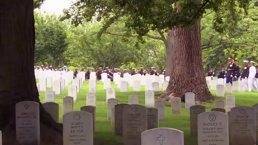 CIRCA 2018 - Members from all five branches of the U.S. Armed Forces participate in the joint full military honors funeral service.