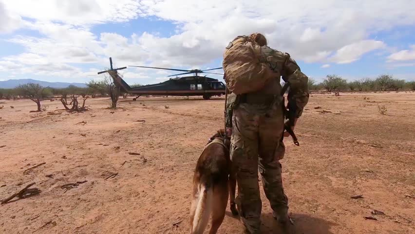 CIRCA 2018 - a member of the U.S. Border Patrol walks the border between the U.S. and Mexico with a dog canine and enters a helicopter.